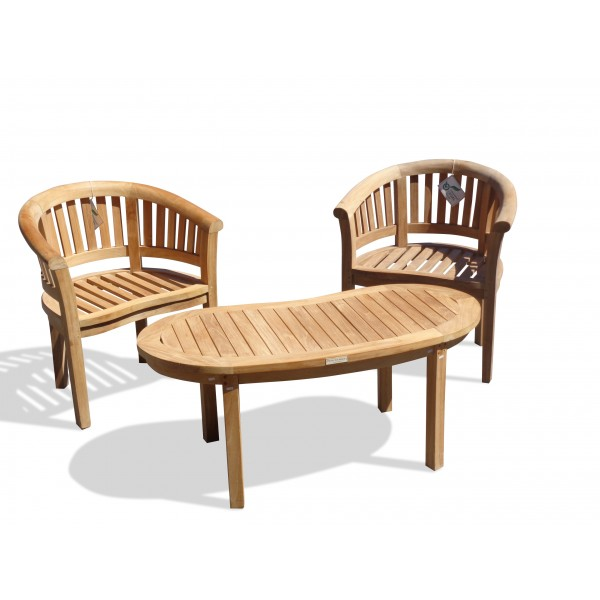 """Kensington Teak 3 Pc Set, 2 Curved Armchairs and a 47"""" Kidney Coffee Table"""