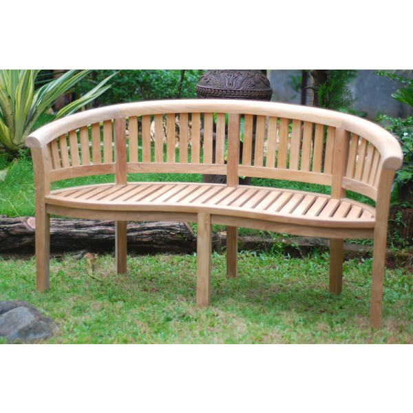 Kensington Curved 3 Seater Teak Bench, arrives Assembled.