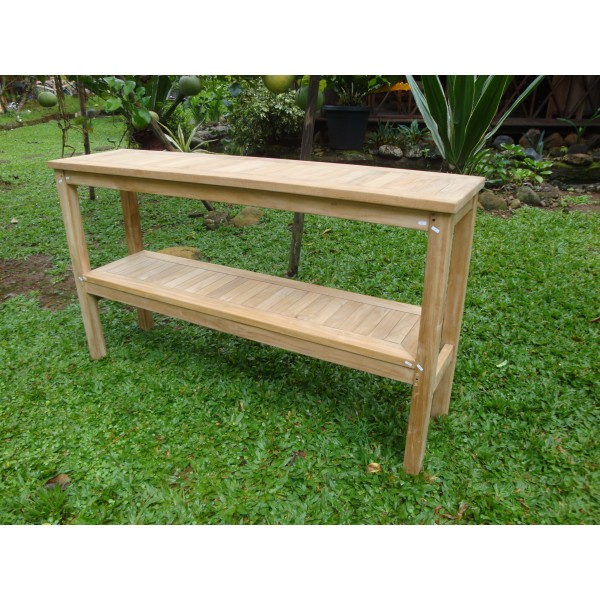 "Cape Cod Rectangular 59"" x 15"" Multi-Purpose Teak Buffet / Console Table, Teak Lasts A Lifetime!"