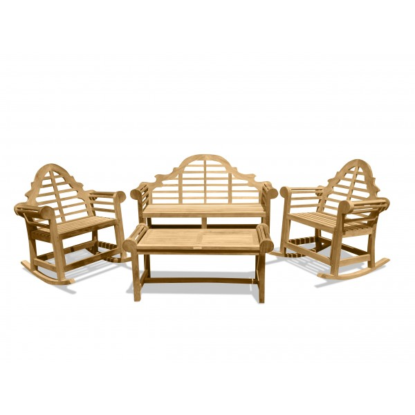 Lutyens 3-Seater Bench, 2 Single Rockers, & Table