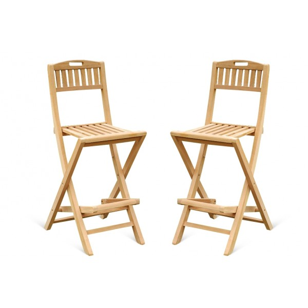 Mallorca Teak Folding Bar Chair. Priced and Packed 2 Per Box