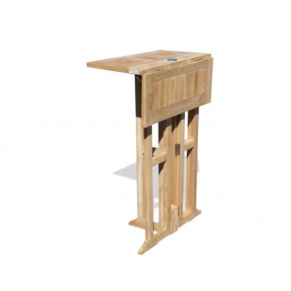 "Nassau 27"" Square Drop Leaf Teak Folding Bar Table ...use with 1 Leaf Up or 2.... Makes 2 different tables"