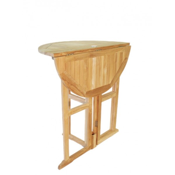 "Bimini 47"" Round Drop Leaf Folding Teak Counter Table ...use w/ 1 Leaf Up or 2....Makes 2 different tables (Counter height is 5"" lower than bar)"