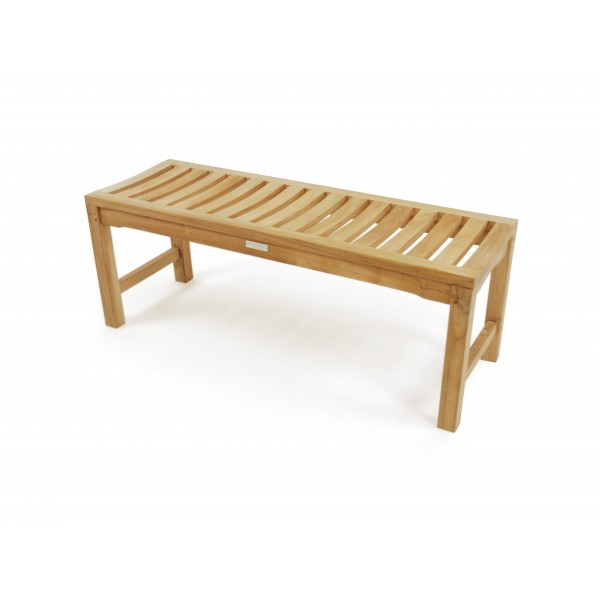 "48"" Oxford Teak Backless Bench 2 Seater w/Contoured Seat"