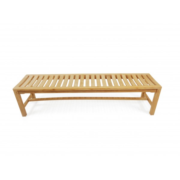 "72"" Oxford Teak Backless Bench w/Contoured Seat"