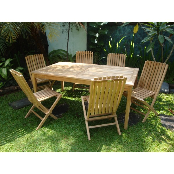 "Cannes 71"" x 35"" Rectangular Teak Dining Table W/ 6 Java Teak Folding Chairs w/Lumbar Support"