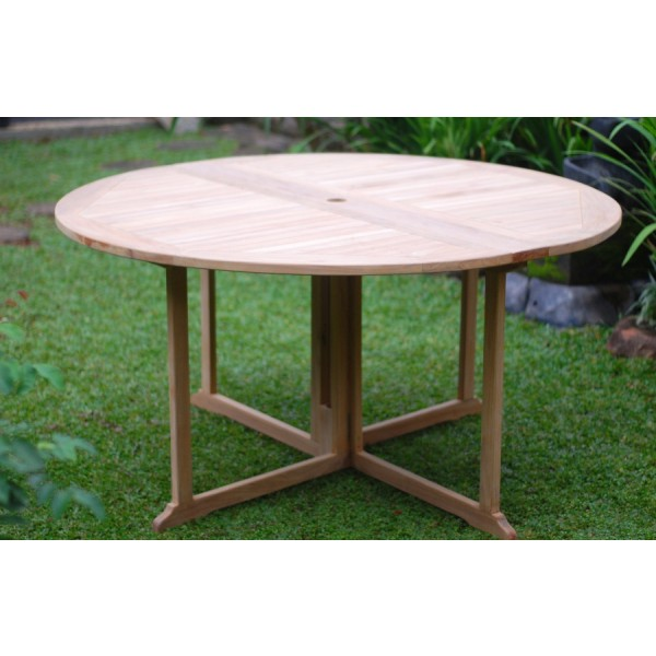 "Barcelona Round Drop Leaf Folding 59"" Teak Dining Table...use with 1 Leaf Up or 2.... Makes 2 different tables"