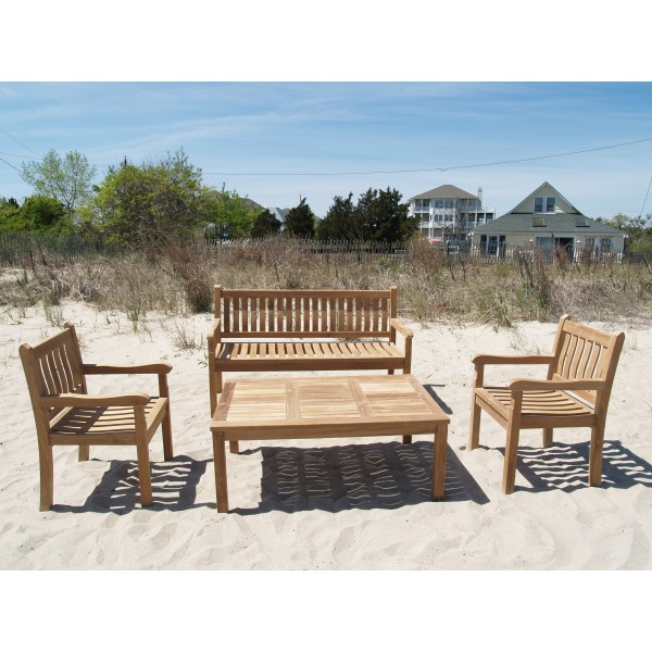 "Windsor Teak 4 Pc Collection, 1 59"" 3 Seater Bench, W/2 Armchairs, 1 Cape Cod 47"" Coffee Table"