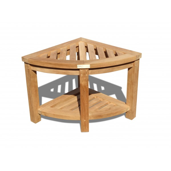 Windsor Teak Corner Shower Bench/Table w Shelf