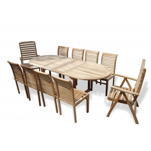 Marvelous Buckingham 95 X 39 Oval Teak Extension Table W 8 Armless Casa Blanca Stacking Chairs 2 Reclinin Creativecarmelina Interior Chair Design Creativecarmelinacom