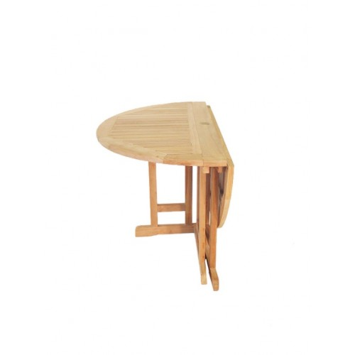 Barcelona Round Drop Leaf Folding 59 Teak Dining Table Use With 1 Up Or 2 Makes Diffe