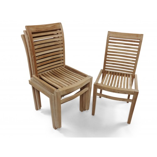 Outstanding Casa Blanca Armless Teak Stacking Chair W Comfortable Contoured Seats Packed And Price 4 Per Box Andrewgaddart Wooden Chair Designs For Living Room Andrewgaddartcom