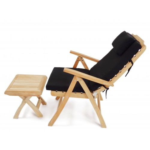Awesome Chelsea 5 Position Reclining Teak Folding Armchair W Footstool And Sunbrella Cushion Pdpeps Interior Chair Design Pdpepsorg