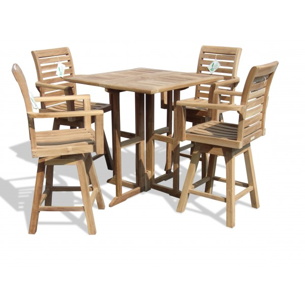 "Nassua 35"" Square Teak Drop Leaf Folding Bar Table w 4 St. Moritz Swivel Bar Chairs (Counter Height is 5"" Lower Than Bar)"