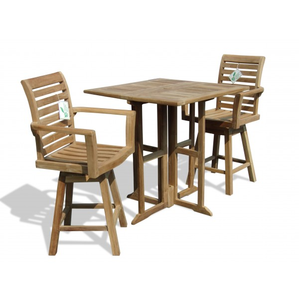 """Bimini 35"""" Square Teak Drop Leaf Folding Counter Table w 2 St. Moritz Swivel Counter Chairs (Counter Height is 5"""" Lower Than Bar)"""