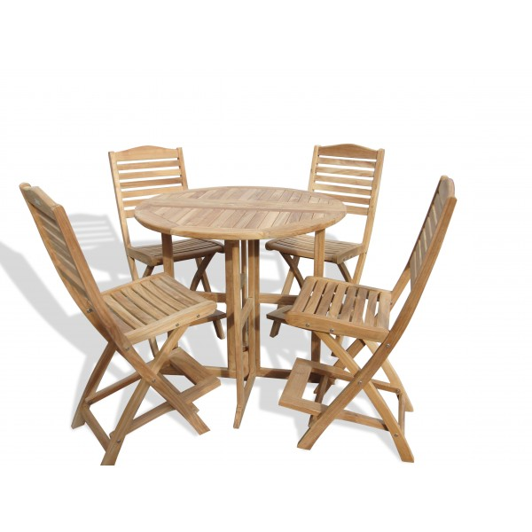"Nassau 39"" Round Drop Leaf Folding Teak Bar Table W/4 St Barts Folding Bar Chairs (bar is 5"" higher then counter)"
