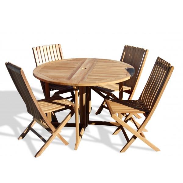 "Barcelona 47"" Round Drop Leaf Folding Teak Table W/4 Java Teak Folding Chairs"