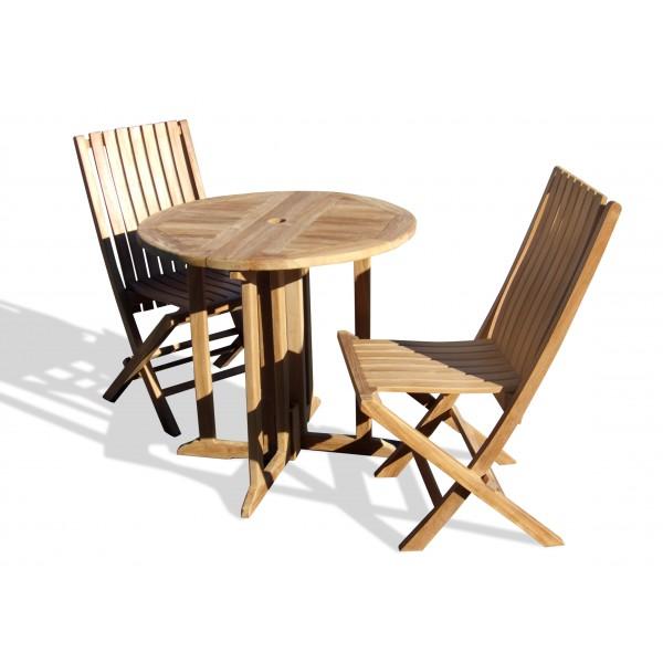 "Barcelona 32"" Round Drop Leaf Folding Table W/2 Java Teak Folding Chairs W/Lumbar Support"