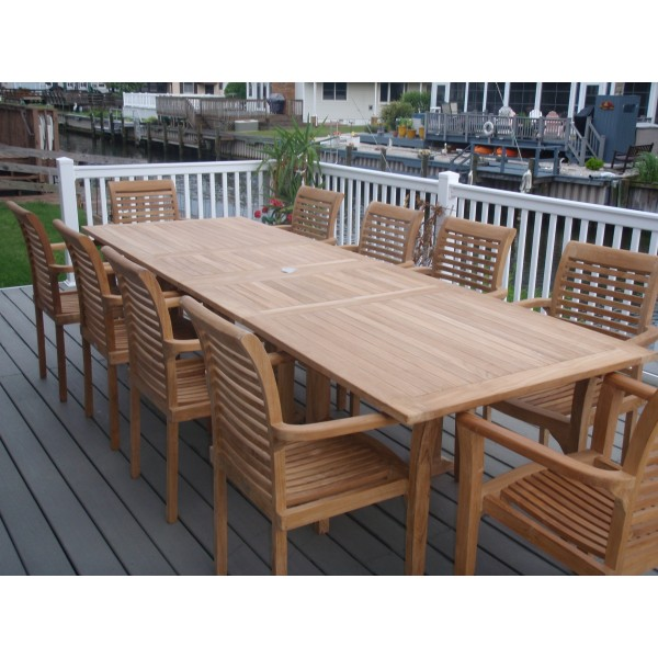 "Buckingham 108"" x 39"" Rectangular Double Leaf Teak Extension Table...Seats 12...makes 3 Different Size Tables"
