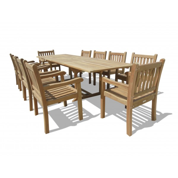 "Buckingham 118"" x 39"" Double Leaf Extension Teak Table w/10 Majestic Windsor Arm Chairs"
