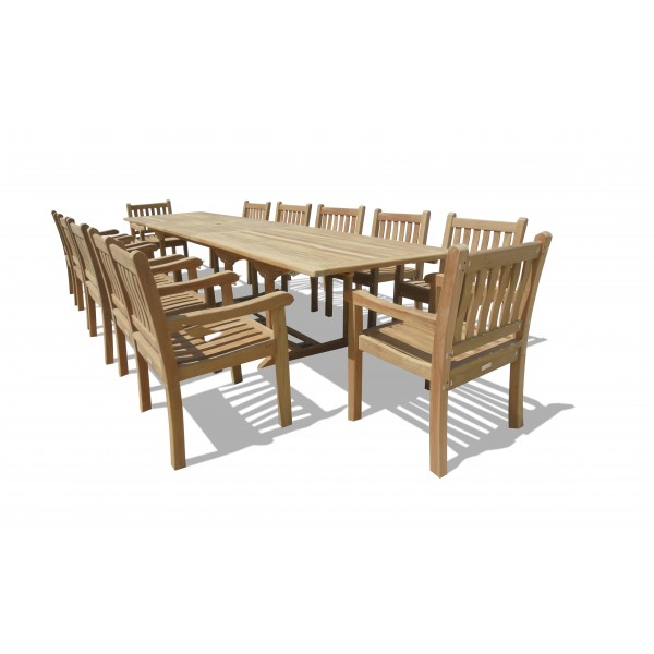 "Buckingham 138"" x 39"" (11 1/2 Feet Long) Double Leaf Extension Teak Table w/12 Majestic Windsor Arm Chairs"