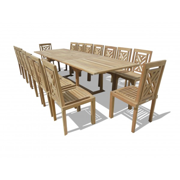 "Buckingham 138"" x 39"" Double Leaf Extension Teak Table W/16 Chippendale Stacking Chairs...seats 16"