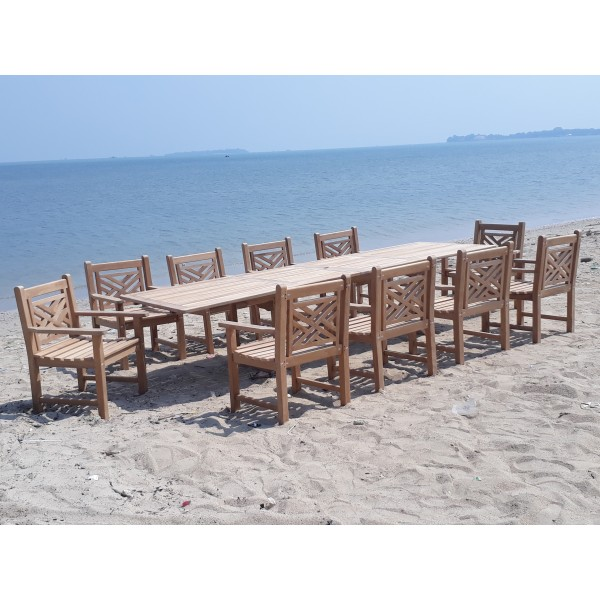 """Buckingham 138"""" x 39"""" Double Leaf Extension Teak Table W/10 Chippendale Arm Chairs"""