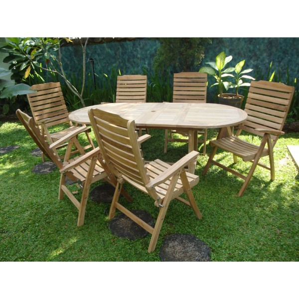 """Buckingham 66"""" x 39"""" Oval Extension Table W/6 Chelsea 5 Position Teak Reclining Chairs"""