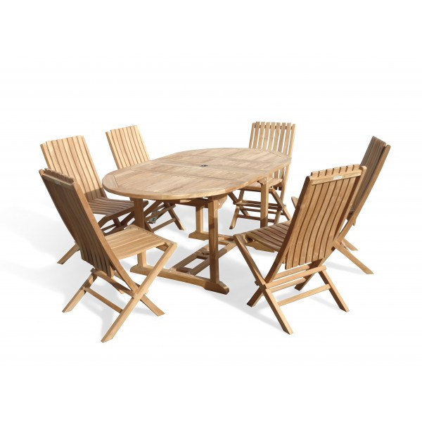 "Buckingham 66"" x 39"" Double Leaf Oval Extension Teak Table W/6 Java Folding Chairs w/ Lumbar Support ."
