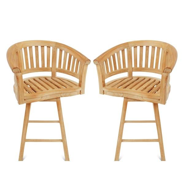 Kensington Swivel Curved Teak Arm Bar chair. 2 Pack