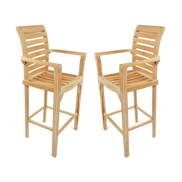 St. Moritz Teak Bar Arm Chair. 2 Pack