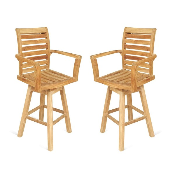 "St. Moritz Teak Swivel Counter Arm Chair (Counter height is 5"" lower than bar). 2 Pack"