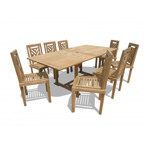 "Buckingham 82"" x 39"" Double Leaf Rectangular Extension Teak Table W/8 Chippendale Stacking Chairs...seats 8"