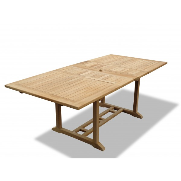 "Buckingham 82"" x 39"" Double Leaf Rectangular Teak Extension Table...Seats 10...makes 3 Different Size Tables"