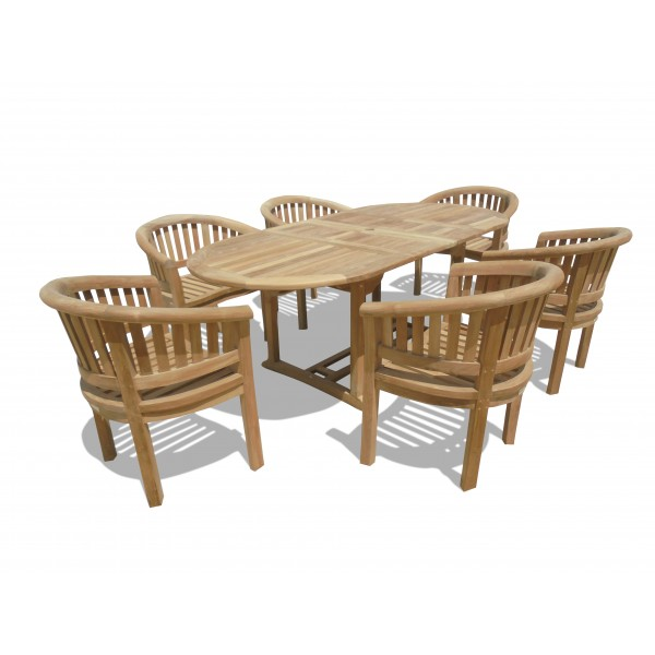 "Buckingham 82 x 39"" Oval Double Leaf Teak Extension Table W/6 Impressive Kensington Curved Arm Chairs...seats 6"