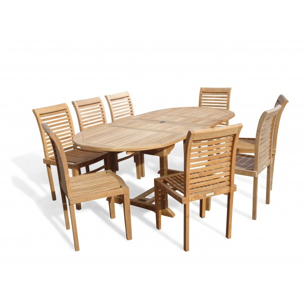 "Buckingham 82"" x 39"" Double Leaf Oval Extension Teak Table W/8 Casa Blanca Armless Stacking Chairs."