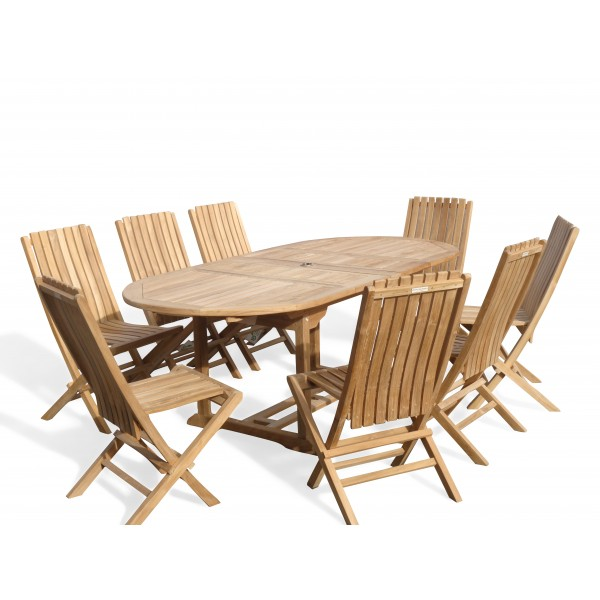"Buckingham 82"" x 39"" Double Leaf Oval Extension Teak Table W/8 Java Folding Chairs w/ Lumbar Support ."