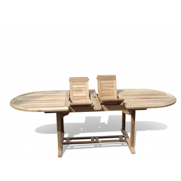 "Buckingham 95"" x 39"" Oval Double Leaf Teak Extension Table...Seats 10...makes 3 Different Size Tables"
