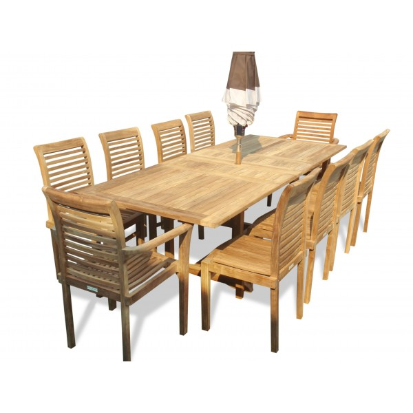 """Buckingham 95"""" x 39"""" Rectangular Extension Table w 10 Casa Blanca Stacking Chairs...(2w/arms & 8 w/o arms)"""