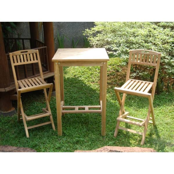 "Avalon 27"" Square Teak Bar Table W/2 Mallorca Teak Folding Bar Chairs"