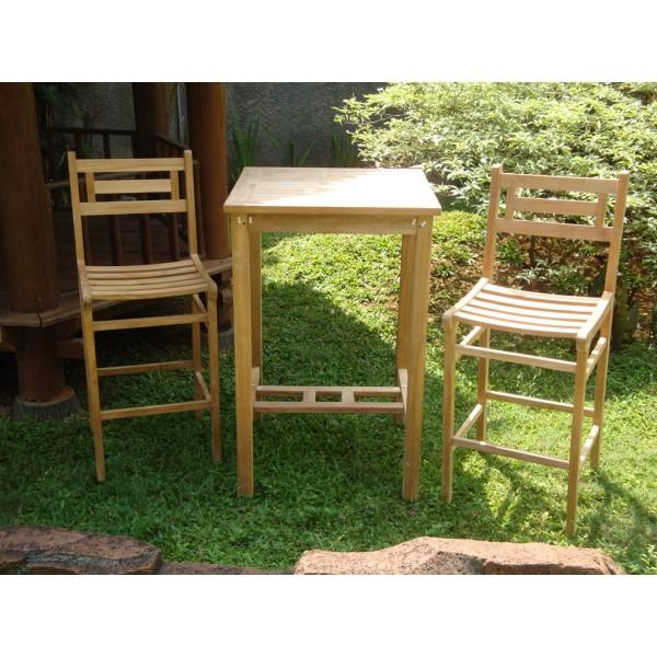 "Avalon 27"" Square Teak Bar Table W/2 Seville Teak Bar Chairs"