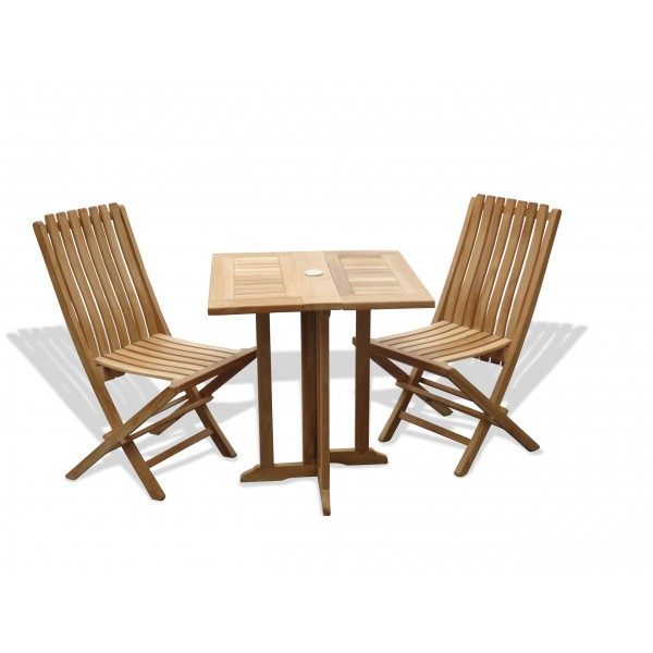 """Barcelona 27"""" Square Drop Leaf Teak Table...Use With 1 Leaf Up Or 2.... Makes 2 Different Tables"""