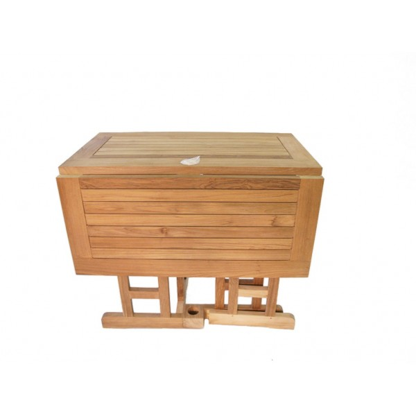 """Barcelona 35"""" Square Drop Leaf Folding Teak Table...use with 1 Leaf Up or 2.... Makes 2 different tables"""