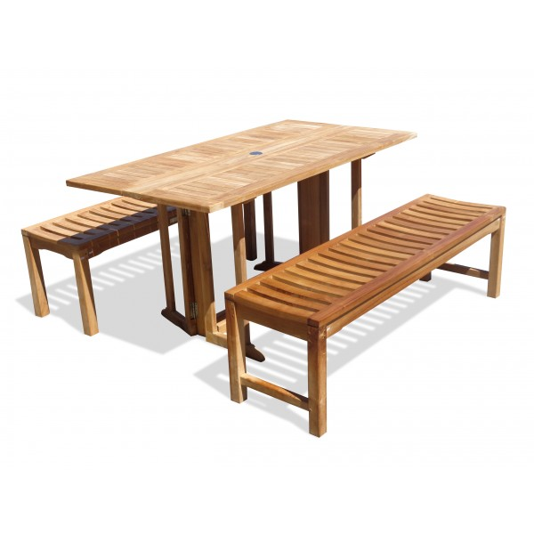 "Barcelona 59"" x 31"" Rectangular Drop Leaf Folding Teak Table W/two 59"" Backless Benches...Seats 6 Adults"