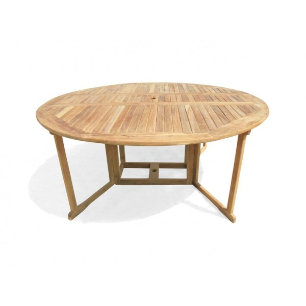Barcelona 6 Foot (72 inches across) Round Drop Leaf Folding Table..Use W 1 Leaf Up Or 2 ...Seats 8-10