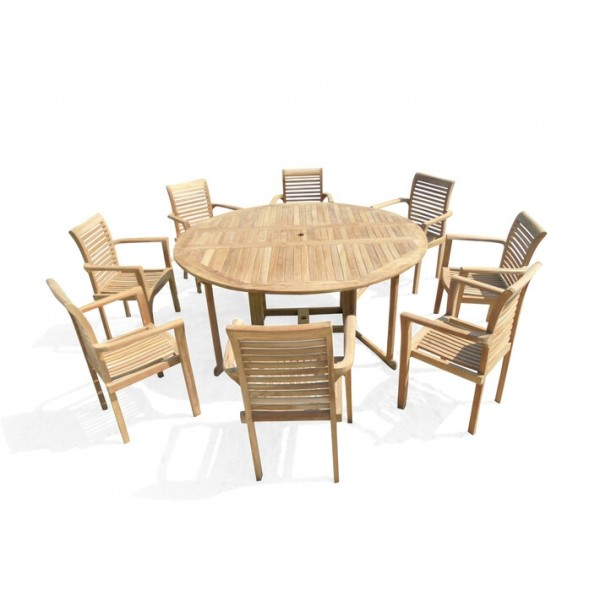 Barcelona 6 Foot (72 inches across) Round Drop Leaf Folding Table W/8 Casa Blanca Stacking Arm Chairs