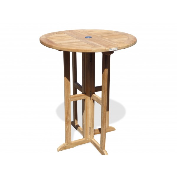 "Bimini 32"" Round Drop Leaf Folding Counter Table ...use with 1 Leaf Up or 2.... Makes 2 different tables (Counter height is 5"" lower than bar)"