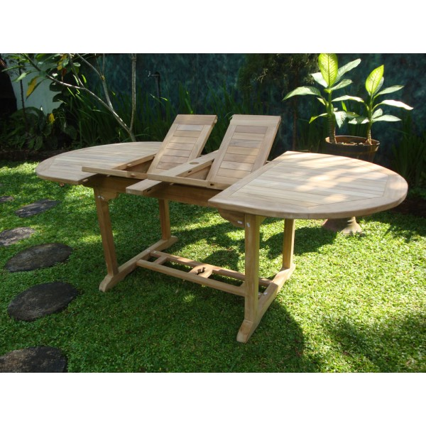 "Buckingham 82"" x 39"" Double Leaf Oval Teak Extension Table..Seats 8....makes 3 Different Size Tables"