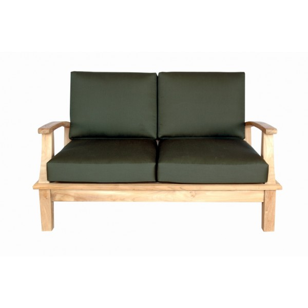 Portofino Deep Seating Teak Loveseat w/ Sunbrella Cushions