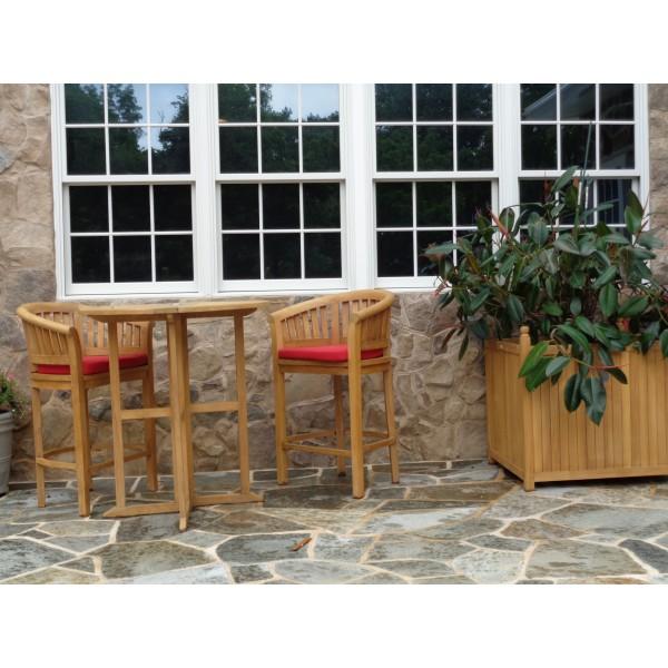 "Nassau 39"" Round Drop Leaf Folding Bar Table W/2 Kensington Bar Chairs"